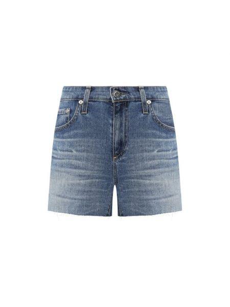 Хлопковые синие джинсовые шорты со стразами Ag