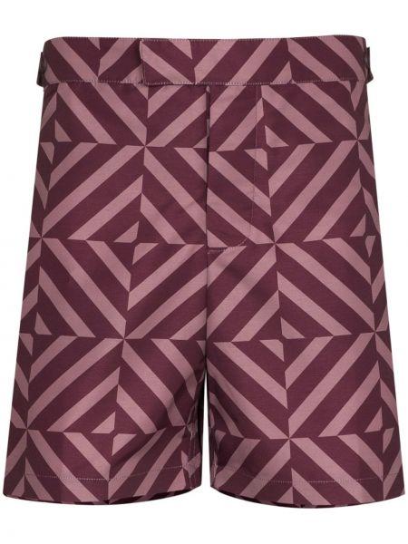 Fioletowe spodenki do pływania bawełniane z printem Frescobol Carioca