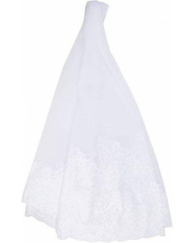 Белая ажурная вуалетка с вуалью Alberta Ferretti