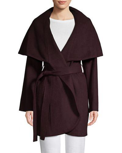 Шерстяное длинное пальто с воротником с карманами T-tahari