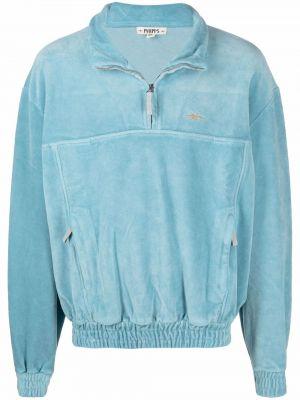 Niebieski sweter z haftem Phipps