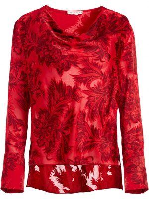 Красная рубашка из вискозы с драпировкой круглая Alice+olivia