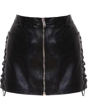 Юбка мини кожаная с карманами Saint Laurent