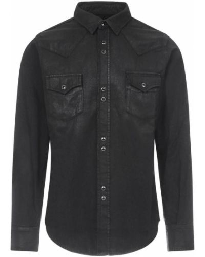 Czarna koszula bawełniana na co dzień Saint Laurent