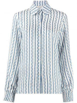Белая рубашка с длинными рукавами в полоску Nina Ricci