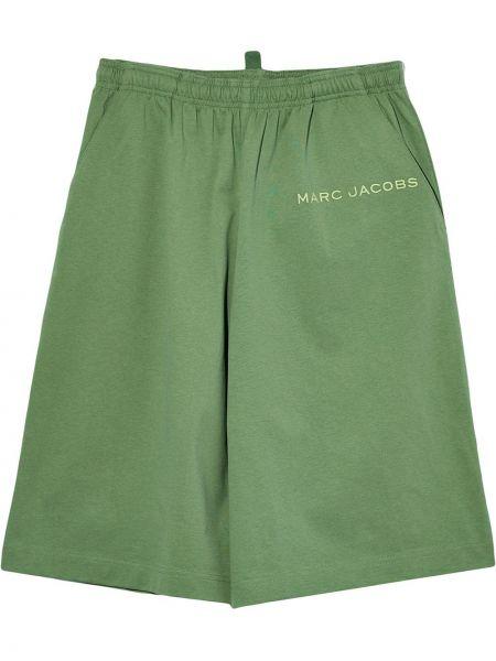 Зеленые хлопковые шорты с карманами с вышивкой Marc Jacobs
