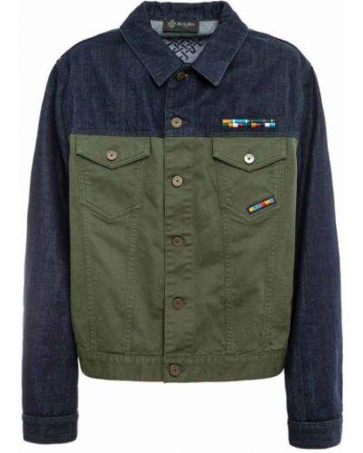 Zielona kurtka jeansowa z haftem bawełniana Mr&mrs Italy