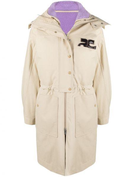 Шерстяное бежевое пальто классическое с капюшоном Courrèges
