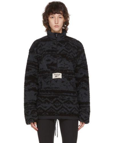 Флисовый черный свитер с воротником с карманами Reebok Classics