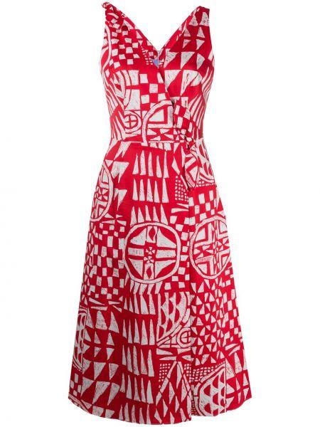 Хлопковое красное платье миди с V-образным вырезом без рукавов Stella Jean