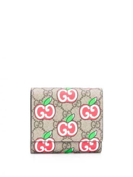 Beżowy portfel skórzany z gniazdem z prawdziwej skóry Gucci