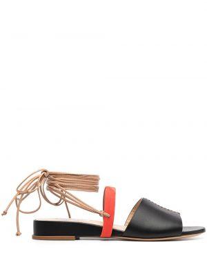 Czarne sandały skorzane na niskim obcasie Gabriela Hearst