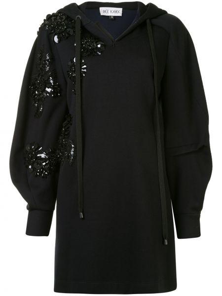 Прямое с рукавами черное платье макси Dice Kayek