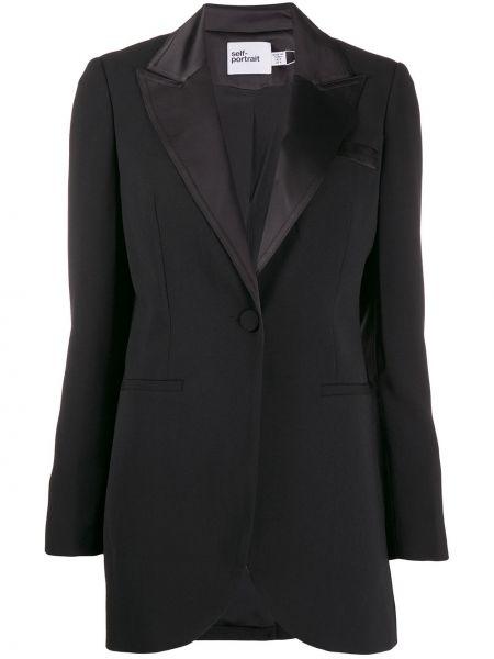 Черный удлиненный пиджак Self-portrait