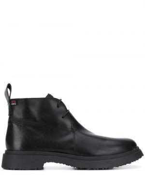 Czarny buty skórzane zasznurować z prawdziwej skóry na pięcie Camper