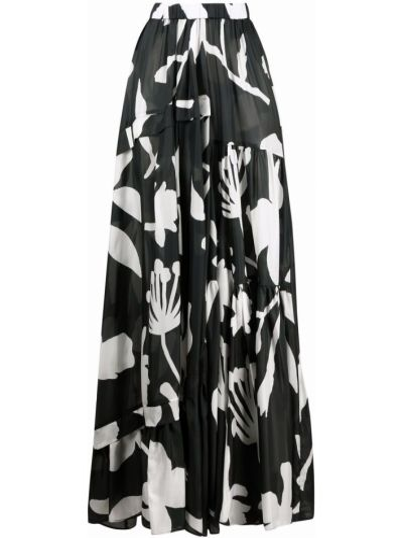Черная юбка макси с принтом Christian Wijnants