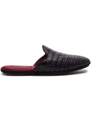 Bawełna czarny skórzany kapcie Dolce And Gabbana