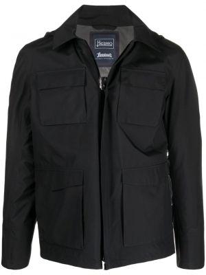Черная куртка с капюшоном на молнии Herno