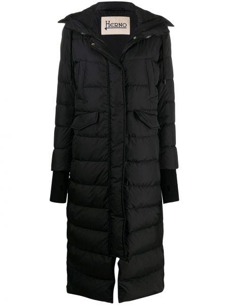 Классическое черное пальто с капюшоном с карманами с перьями Herno