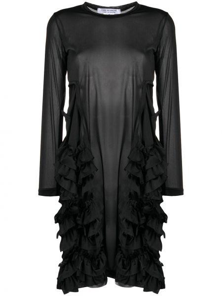 Трикотажное черное платье макси с длинными рукавами Comme Des Garçons Comme Des Garçons