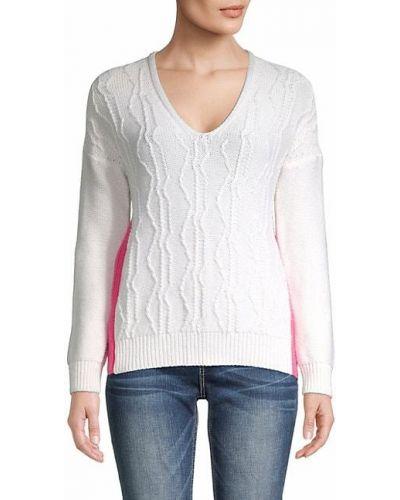 Бежевый кашемировый длинный свитер с V-образным вырезом Fabiana Filippi
