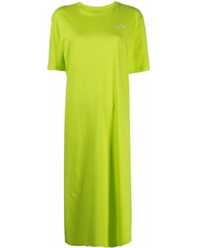 Прямое зеленое платье-рубашка с вышивкой Armani Exchange
