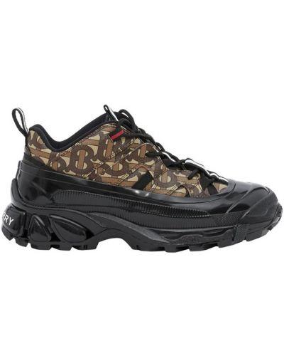 Текстильные коричневые кроссовки на толстой подошве Burberry