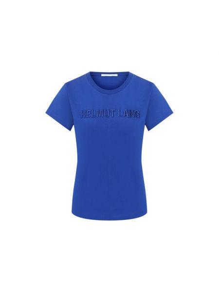 Хлопковая футбольная синяя футболка с круглым вырезом Helmut Lang