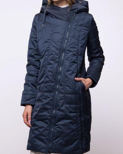 Приталенное синее пальто с капюшоном Dizzyway
