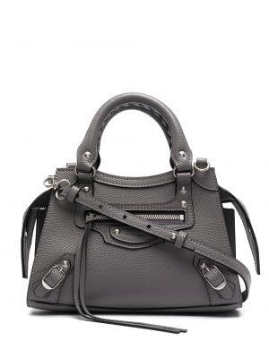 Кожаная серая сумка-тоут на молнии Balenciaga