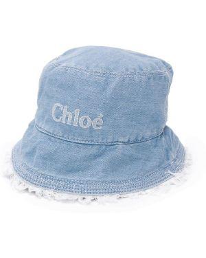 Niebieski kapelusz bawełniany z haftem Chloé Kids