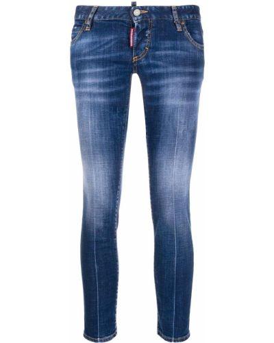 Хлопковые синие облегающие джинсы-скинни на пуговицах Dsquared2