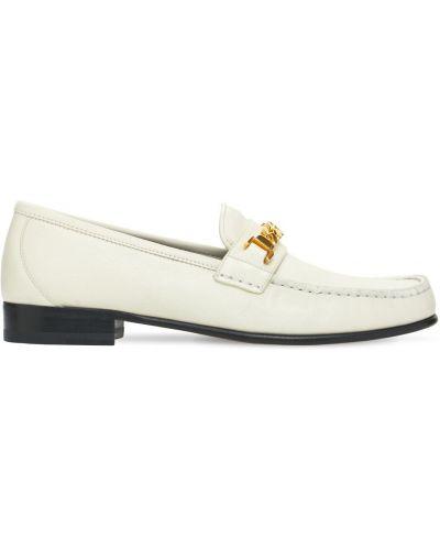 Białe loafers skorzane na obcasie Gucci