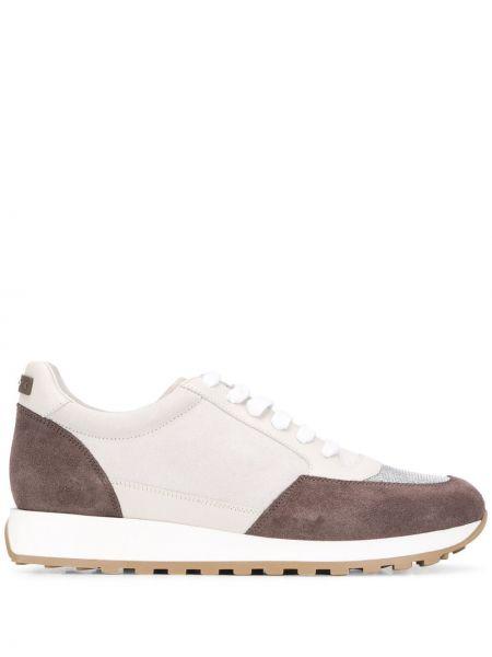 Замшевые коричневые кожаные кроссовки на шнуровке со вставками Peserico