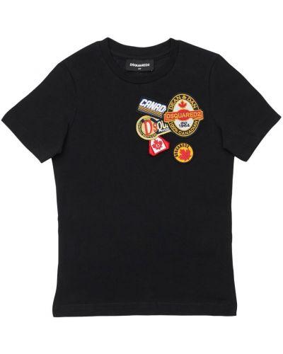 Bawełna czarny koszula z kołnierzem z łatami Dsquared2