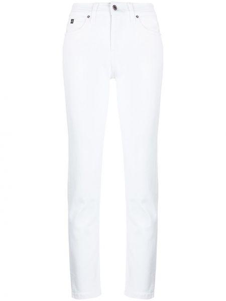 Кожаные белые джинсы на молнии Calvin Klein
