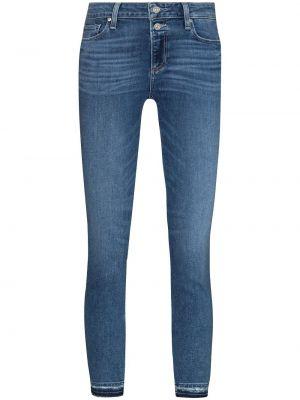 Синие хлопковые зауженные джинсы с заплатками Paige