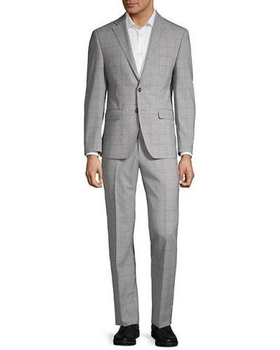 Серебряный костюмный шерстяной костюм классический Calvin Klein