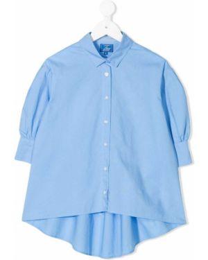 Асимметричная синяя рубашка на пуговицах Fay Kids