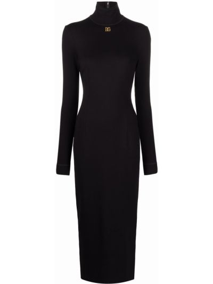 Платье миди с длинными рукавами - черное Dolce & Gabbana