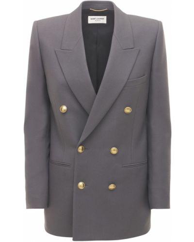 Серый пиджак на пуговицах с карманами Saint Laurent