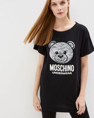 Черная зимняя футболка Moschino Underwear
