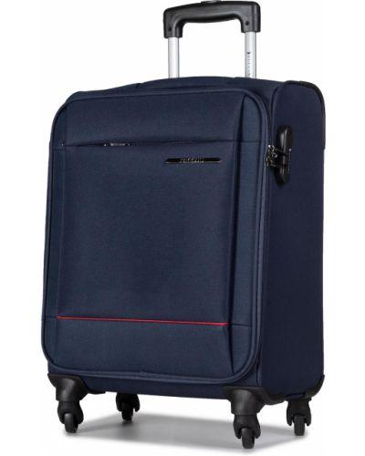 Niebieska walizka materiałowa Puccini