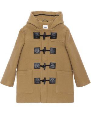 Brązowy płaszcz wełniany z kapturem Burberry