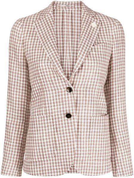 Розовый удлиненный пиджак в клетку с карманами Lardini