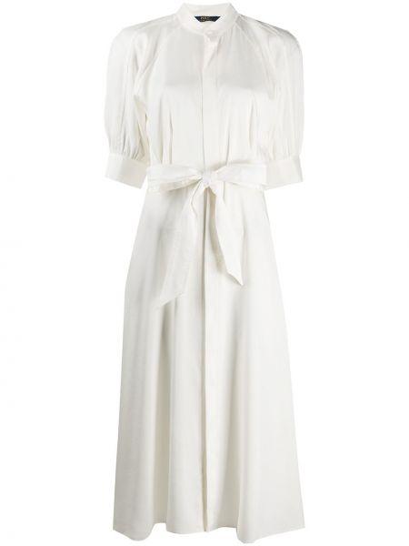 Бежевое шелковое платье с рукавами с воротником с манжетами Polo Ralph Lauren