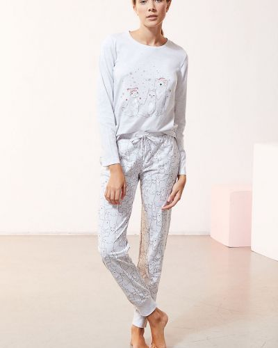 Biała spodni piżama bawełniana z długimi rękawami Etam