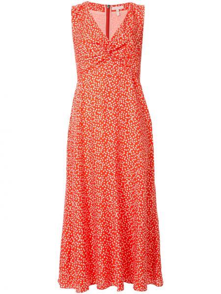 Pomarańczowa sukienka z falbanami z wiskozy Rebecca Taylor