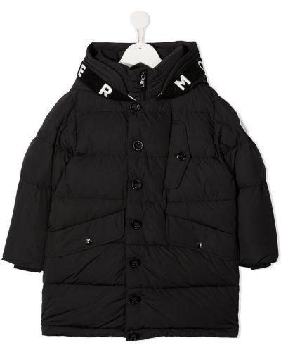 Черное пальто классическое с капюшоном на пуговицах Moncler Kids