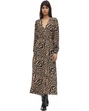 Платье макси с запахом с V-образным вырезом Ganni